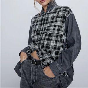 Zara Tweed Frayed Grey Black White  Jacket
